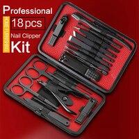 18 шт. маникюрный набор, кусачки для ногтей, набор для педикюра, инструменты для ухода, черный мужской набор для ухода за шерстью, с черным из и...