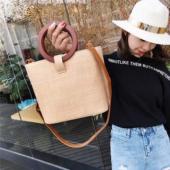 New Design Women Handbag Summer Beach Bag Rattan Woven Handmade Knitted Straw Large Capacity Totes  Women Shoulder Bag Bohemia