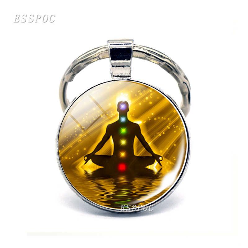 Símbolos Chakra Pingente Keychain Budismo Indiano Sinal de Vidro Cabochão Anel Chaveiro Símbolos Chakra Jóias Presentes para Mulheres Dos Homens