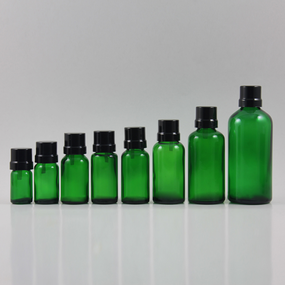 Оливковое Эфирное масло унц.. пустой 0,5 образец упаковки для продажи, оптовая продажа 15 мл зеленый косметический бутылка с алюминиевой крышк...