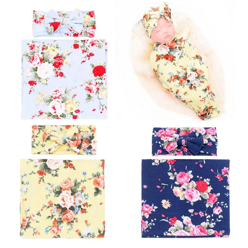 2pcs/set Cute Newborn Baby Bowknot Flower Print Swaddle Wrap Hairband Infant Sleeping Blanket Headband Casual Accessories Gift