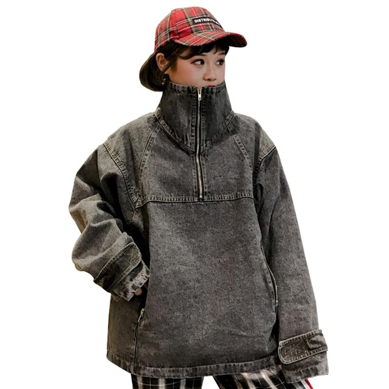 Denim High Collar Pullover Basic Jacket Women Jeans Bomber Coat 2018 New Autumn Letter Zippers Harajuku Mujer Chaqueta PJ305