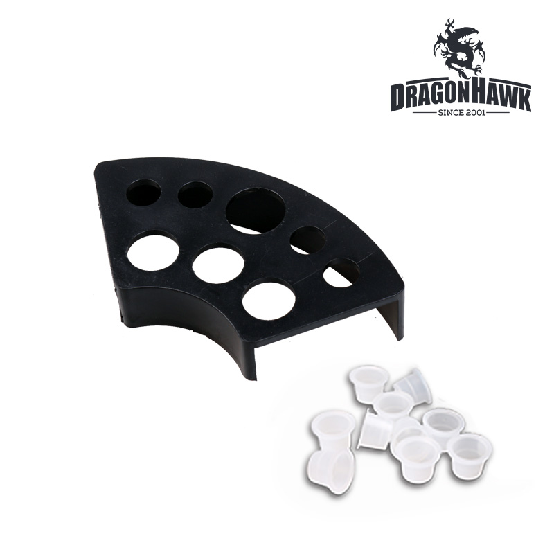 New Style Tattoo Ink Cap Cup Stand Holder Plastic 7 Holes With 50 Pcs Ink Cups Supply