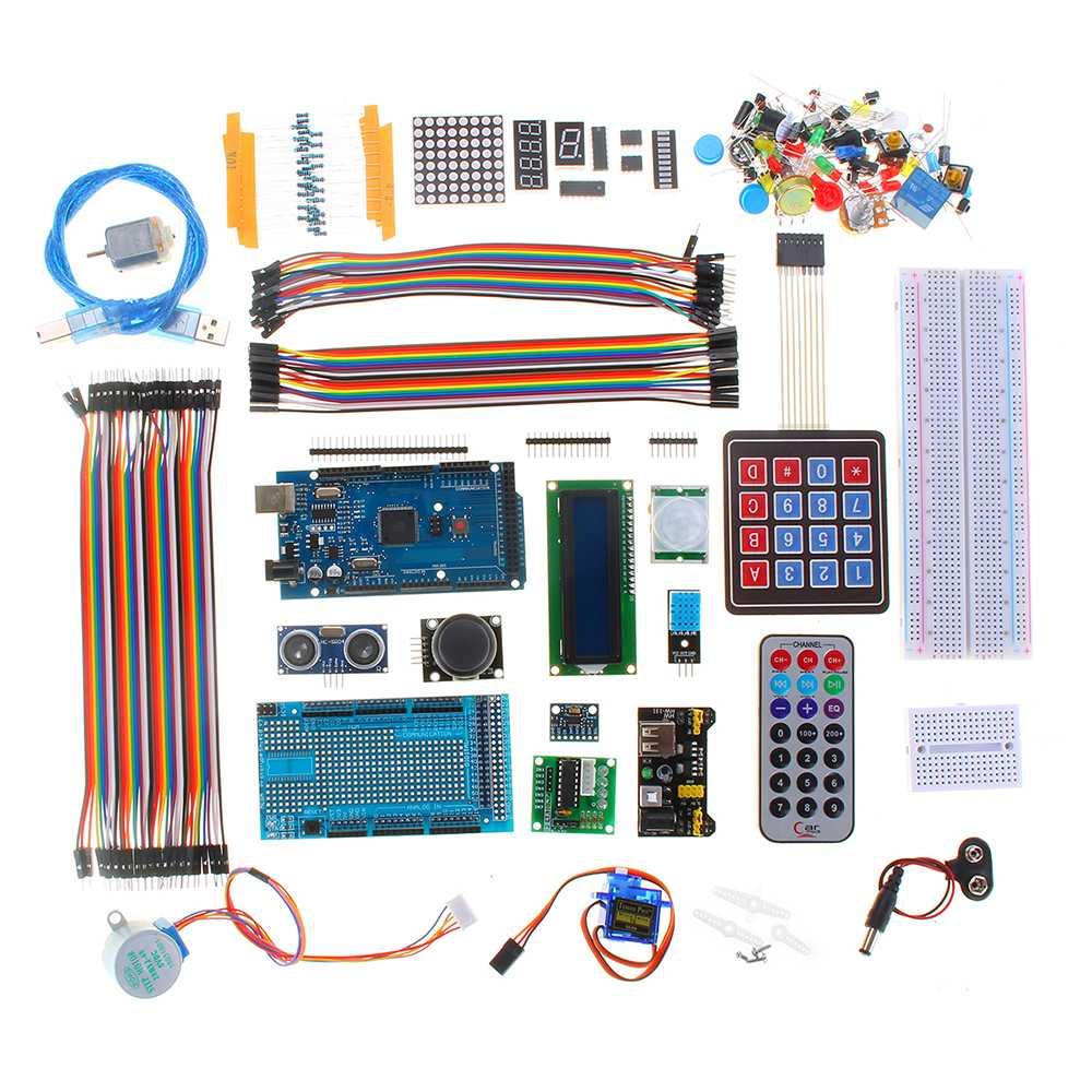 Ensemble de composants électroniques bricolage avec boîte en plastique approprié Kit d'apprentissage de démarreur ultime pour servomoteur Arduino MEGA 2560 LCD1602