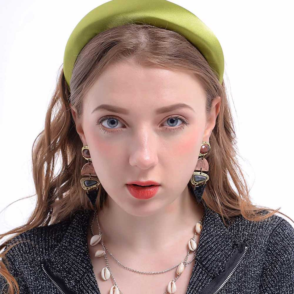 Flatfoosie 2019 New silk Hair Accessories Headband For Women Fashion 4.5CM Plastic Padded Hairbands Fashion   Headwear   Head Band