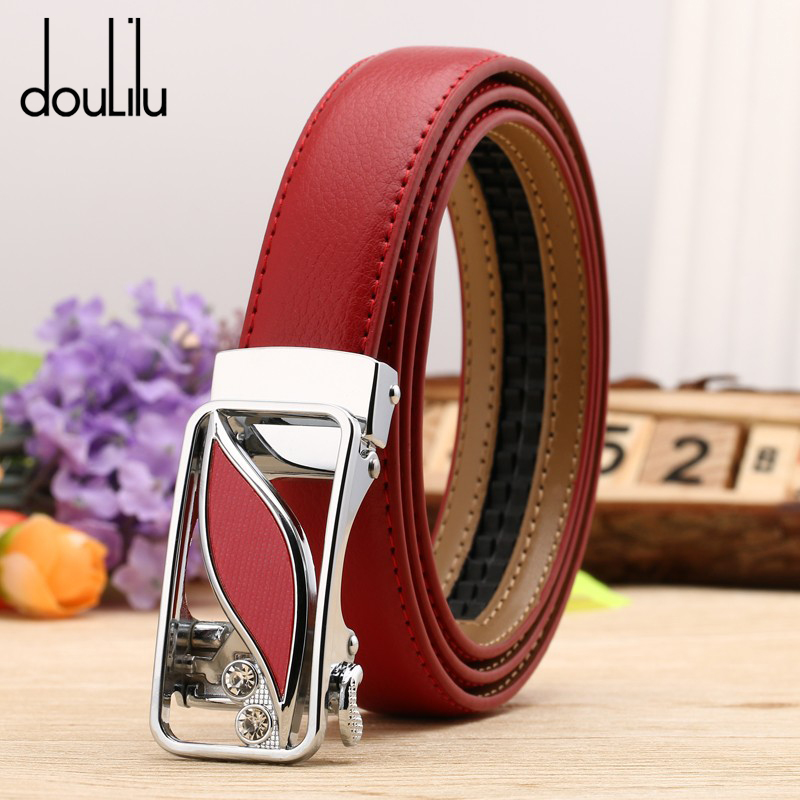 Belts For Women Genuine Leather High Quality Dress Automatic Buckle Luxury Brand Female Jeans Off White Boho Belt Fashion 2019