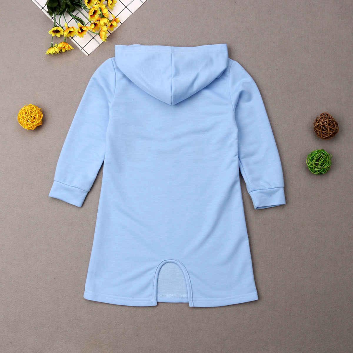 2018 Новое Осеннее Повседневное платье с капюшоном для маленьких девочек пуловер с длинными рукавами и буквенным принтом прямое платье