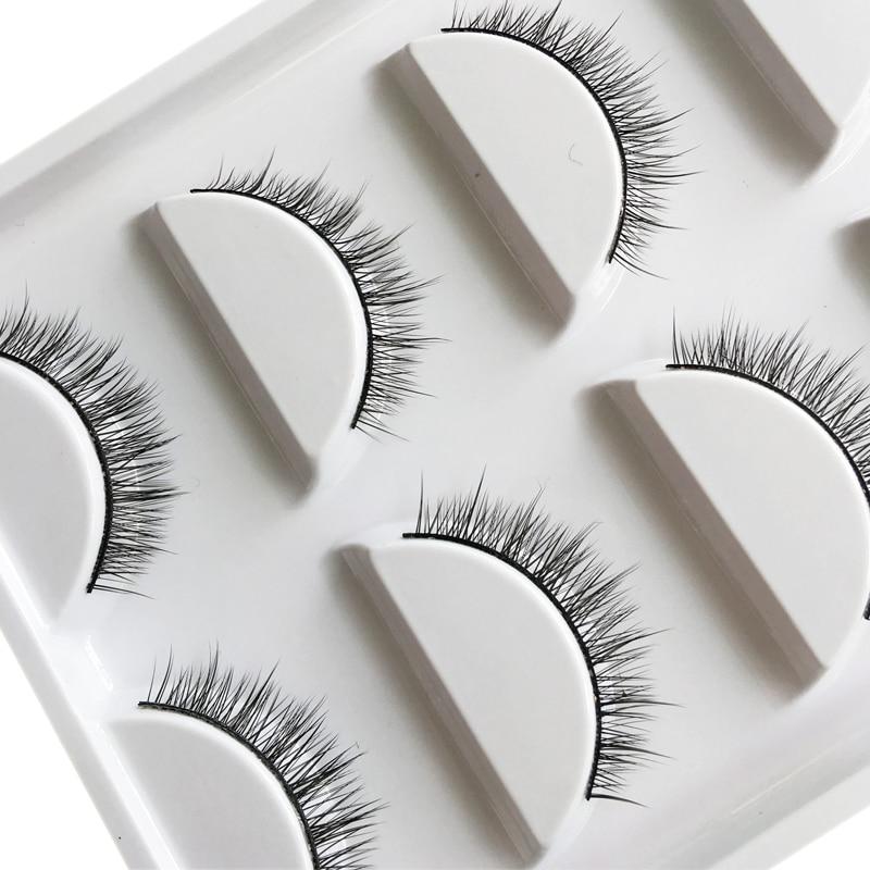 YOKPN New Fashion 5 Pairs Natural False Eyelashes Handmade Fake Eyelashes Short Cross Eyelashes Daily Beauty Makeup Tools Lashes