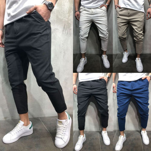 2018 Stylish Men Straight Slim Fit Pencil Pants Skinny Trousers Workout 5 Color M-2XL