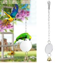 Newest Parrot Toys Bird Mini Mirror Round With Bells Parrot Fun Chewing Toys Hanging Chewing Bite Swing Bird Cage Accessories(China)