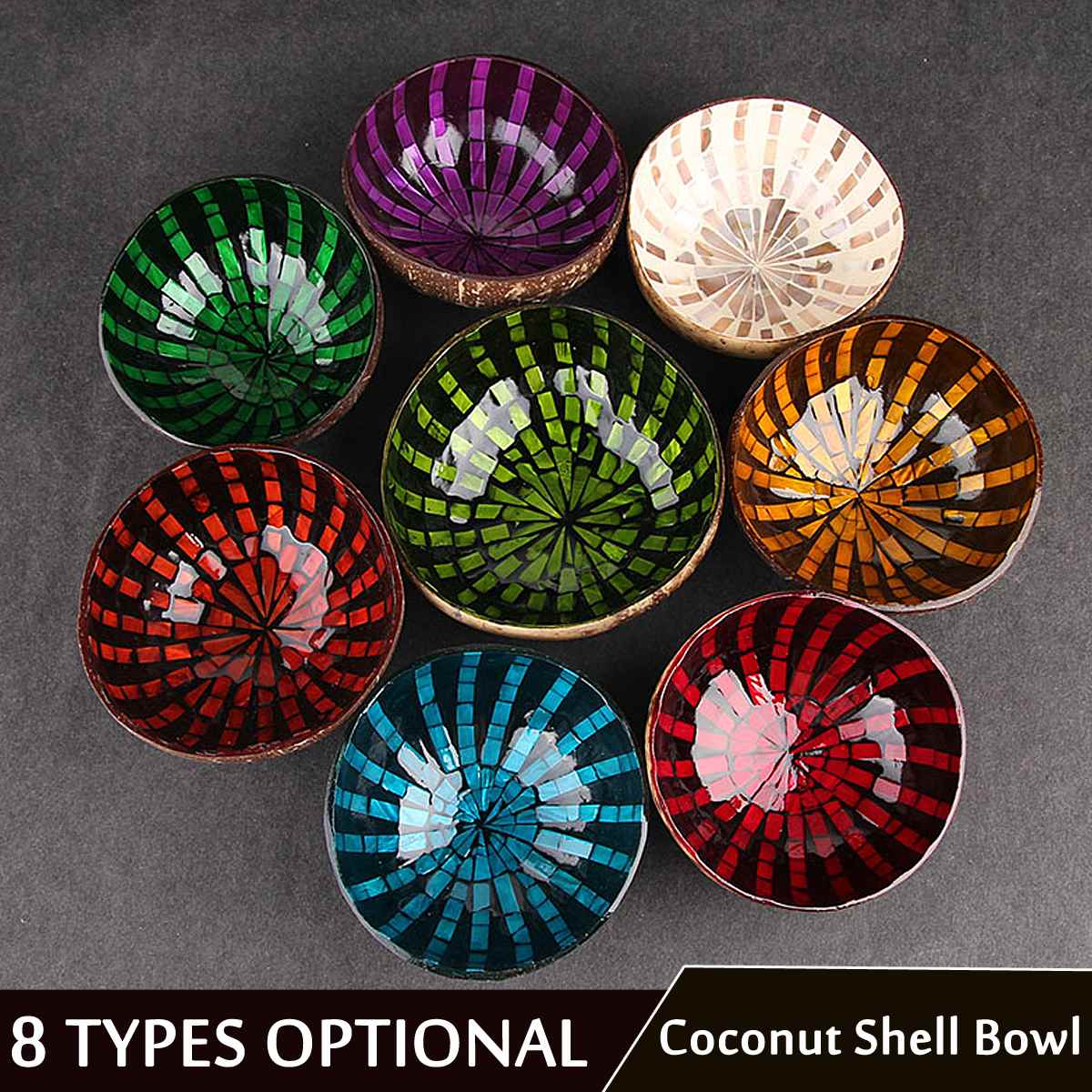 KiWarm 1Pcs 12-15cm Painted Colorful Natural Coconut Shell Bowl Home Decorative Wooden Bowl Food Jewelry Container Storage