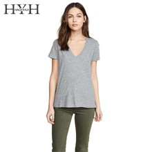 HYH HAOYIHUI 2019 New Summer T-shirt Cotton Deep V-collar Collage Chest Strap Grey