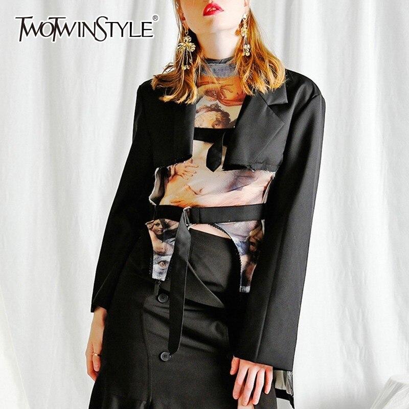 TWOTWINSTYLE Irregular Blazer Coats Women Long Sleeve Lace Up Coat Female Oversized 2019 Spring Streetwear Fashion Clothing