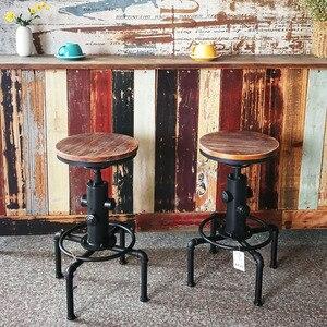 Image 5 - iKayaa Kitchen Furniture Bar Stool Bar Chairs Metal Industrial Stool Height Adjustable Swivel Pinewood Top Pipe Style Barstool