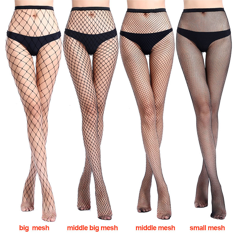 2018 Women Sexy Fishnet Nylon Stockings Fish Net Fashion Pantyhose Mesh Black Stockings Lingerie Thigh High Stocking Transparent