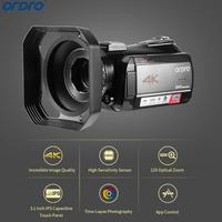 Ordro AC5 4 K Профессиональный Камера UHD 12X Оптический зум цифровая Камера s FHD 24MP Wi Fi ips Сенсорный экран видеокамеры с светозащитная бленда объекти