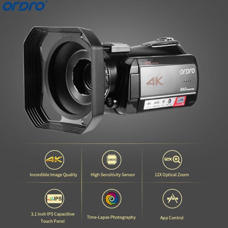 Ordro AC5 4 K caméra professionnelle UHD 12X Zoom optique caméras numériques FHD 24MP WiFi IPS caméscopes à écran tactile avec pare-soleil