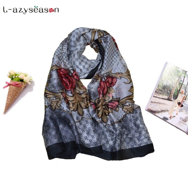 2019 newest spring summer silk Hijab   Scarf   women satin fashion lady print shawls pashmina foulard femme long size   Scarves     Wraps