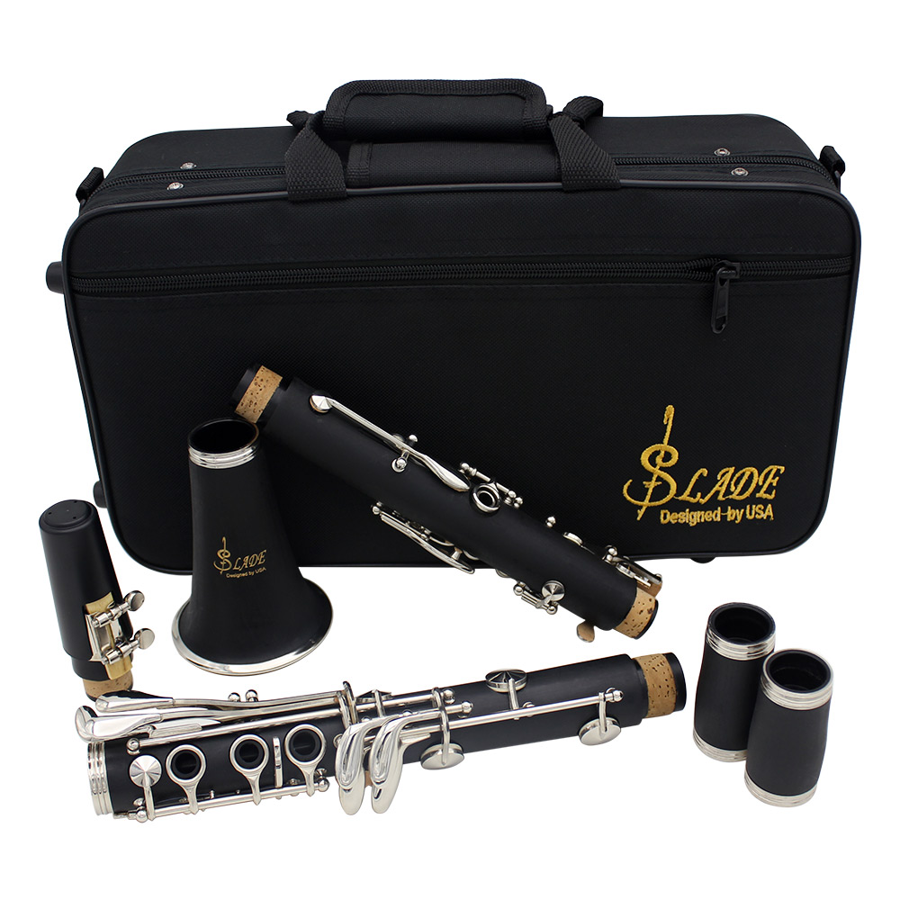 SLADE ABS 17 Key Clarinet bB Flat Soprano Binocular Clarinet with Cleaning Cloth Gloves Screwdriver Reed Case Woodwind InstrumSLADE ABS 17 Key Clarinet bB Flat Soprano Binocular Clarinet with Cleaning Cloth Gloves Screwdriver Reed Case Woodwind Instrum
