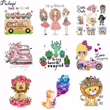 Pulaqi Lovely Animals Decor Pvc Patches Recommend T-shirt Clothes Patch Print By Heat Transfer Vinyl Cartoon Car Appliques H