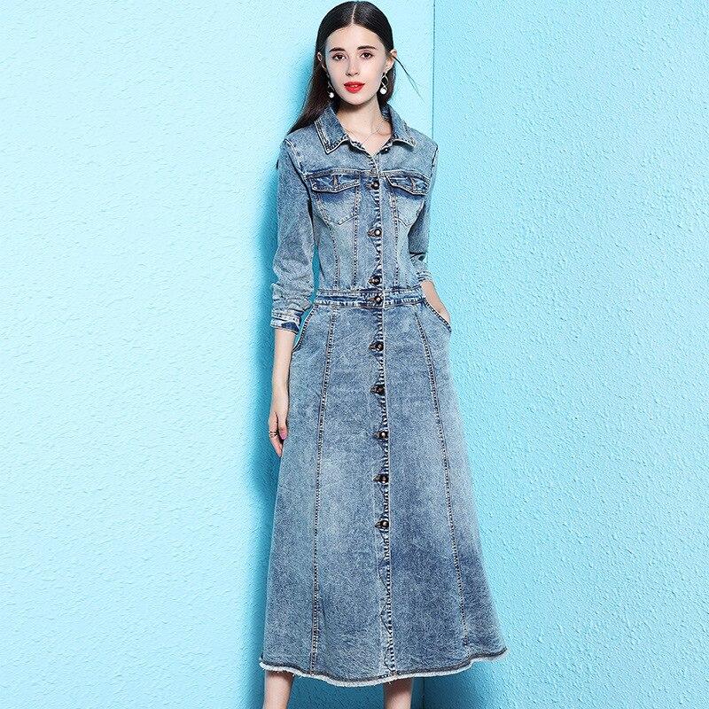 Nordic winds women s fashion denim dress atutumn long overknee long sleeve denim dress for woman