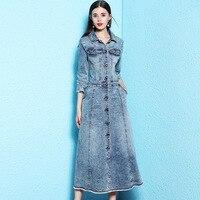 Вечерние платья женские модные джинсовые платья осенне зимние джинсовые платья с длинными рукавами nw18c2874