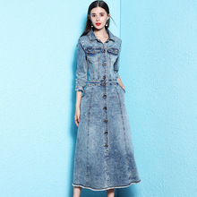 Nordic winds womens fashion denim dress atutumn long overknee sleeve for woman autumn and winter nw18c2874