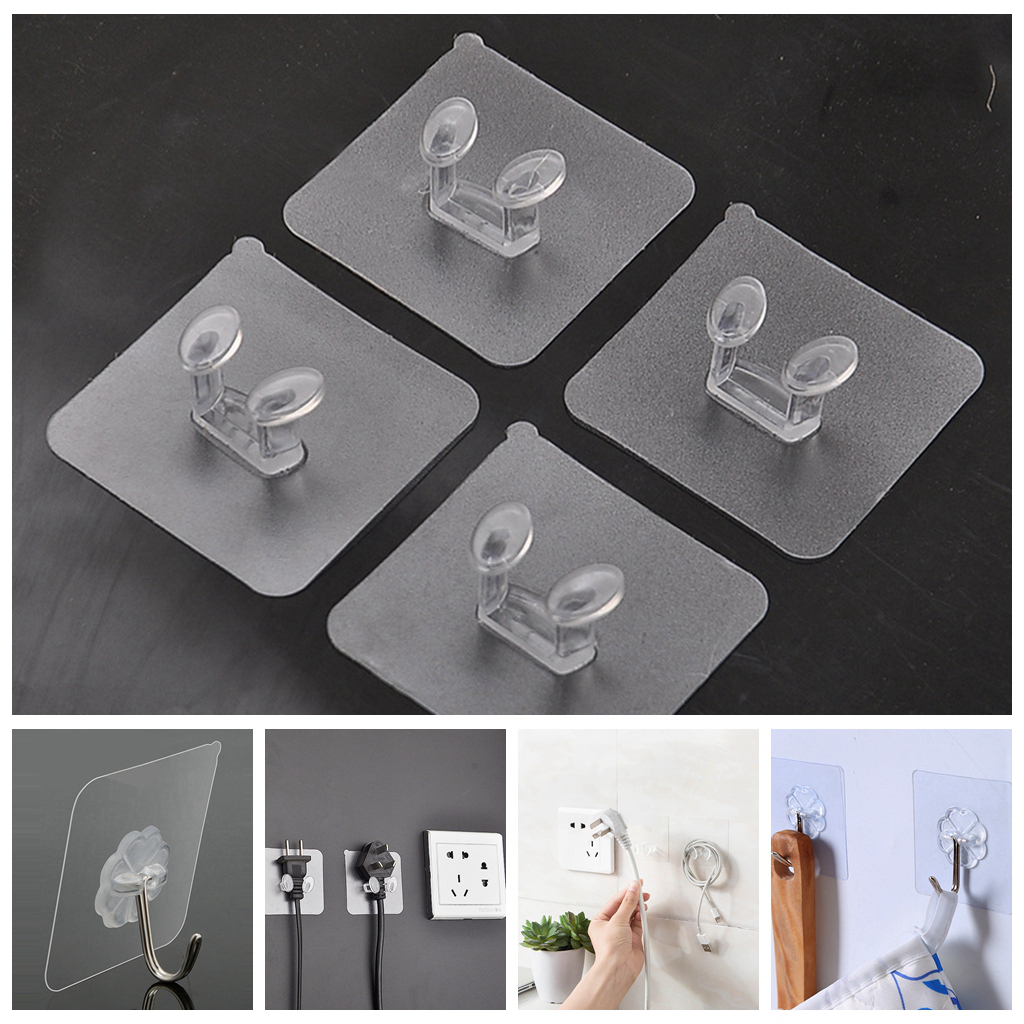 10pcs Traceless Anti-Skid Hooks Socket Plug Holder Transparent Suction CupSucker For Home Storage Kitchen Wall Shelf Key Shelves