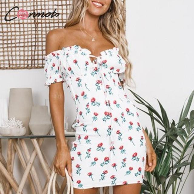 Conmoto Fashion Sexy Off Shoulder Print Short Dress