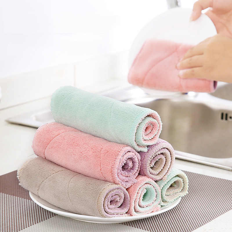 Household Kitchen Towels Absorbent Thicker Double-layer Microfiber Wipe Table Kitchen Towel Cleaning Dish Washing Cloth