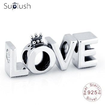 Suplush New LOVE Silver S925 Charms Beads Fit Original Pandora Bracelets Silver Jewelry Gift For Lovers Valentine's Day Beads
