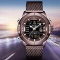 Новые роскошные Лидирующий бренд NAVIFORCE мужские военные кофейные часы водонепроницаемые цифровые светодиодные кварцевые часы спортивные ч...