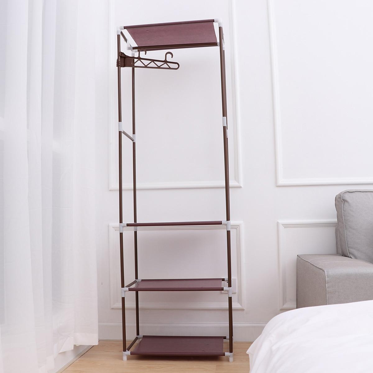 US $25.13 47% OFF|1pcs Portable Clothes Rack Clothing Floor standing Shelf  Garment Organizer Bedroom Coat Rack Storage Stand-in Storage Holders & ...
