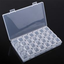 28 Slots Medicine Pill Storage Box Transparent Plastic Jewelry Ear Studs Storage Box Adjustable Clear Organizer Container(China)