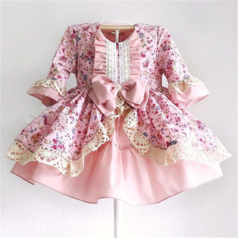1-5Years <font><b>Princess</b></font> <font><b>Dress</b></font> Kids Baby Girl Retro Lace Flower <font><b>Party</b></font> Pageant <font><b>Dress</b></font> Bow European Palace Style Clothes image