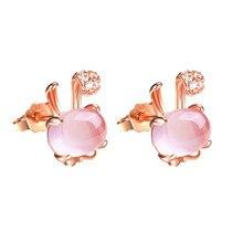 14K Rose Gold Stud Earrings for Women Pink Rabbit Shape Rose Quartz Agates Bizuteria Diamonds Jewelry Wedding Earrings NoEnName pair of stunning rose wedding earrings jewelry for women