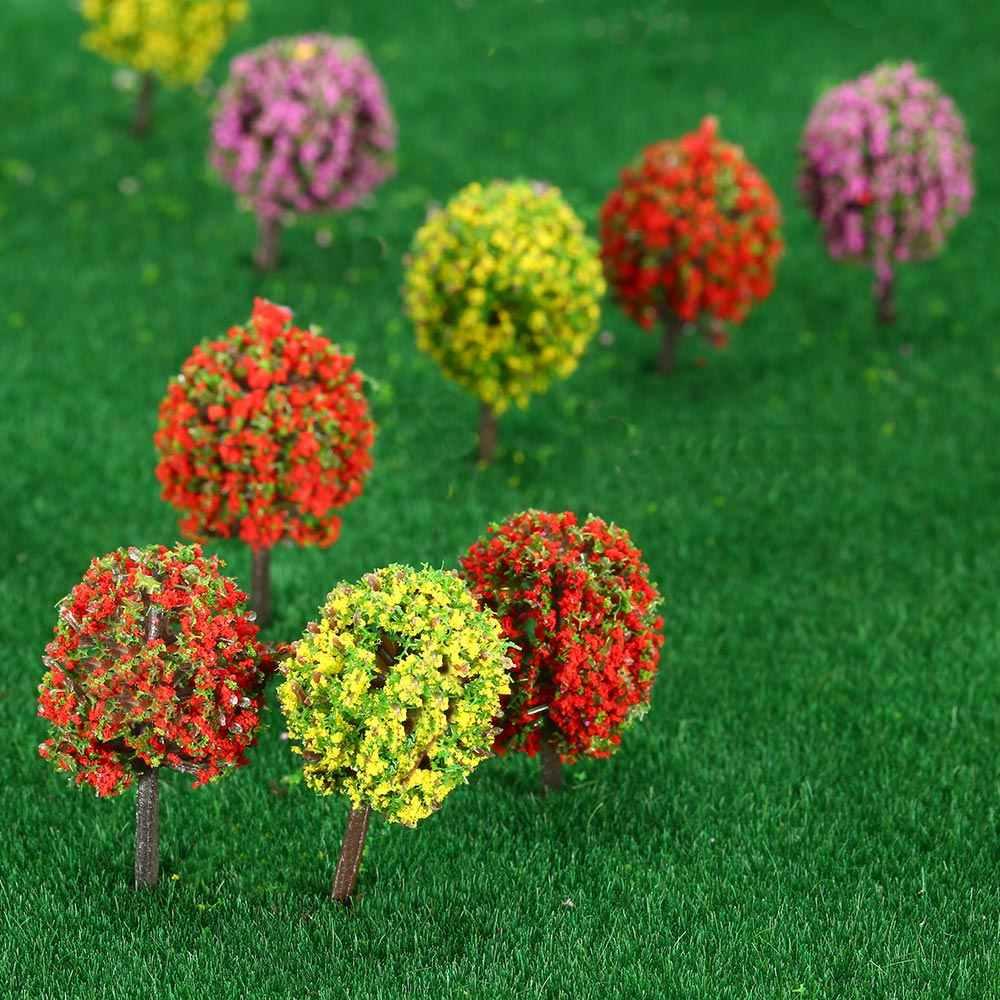 30 sztuk mieszane 3 kolory kształty w kształcie kulek kwiatów model pociągu układ pejzaż z ogrodem krajobraz drzewa dioramy miniaturowe