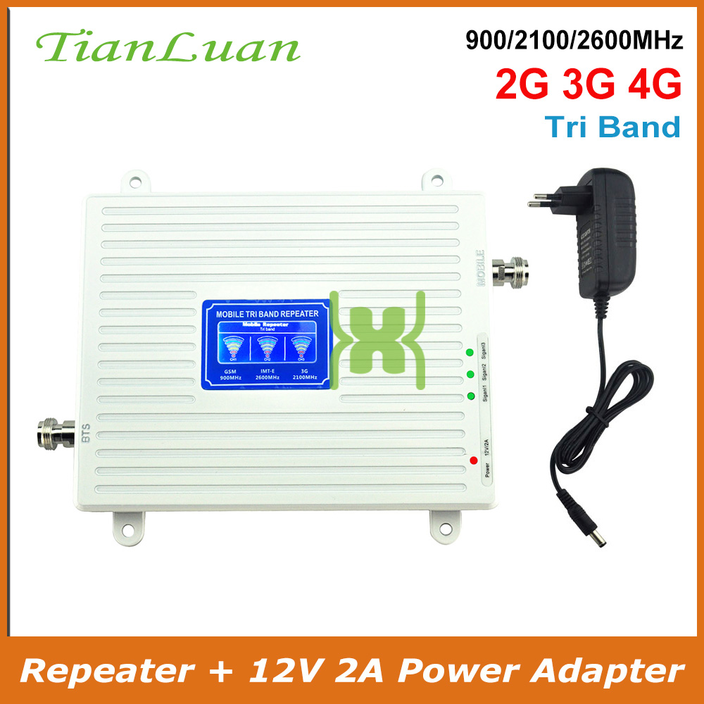 TianLuan Mobile Phone Signal Booster 4G 3G 2G Signal Repeater GSM 900MHz W CDMA 2100MHz LTE