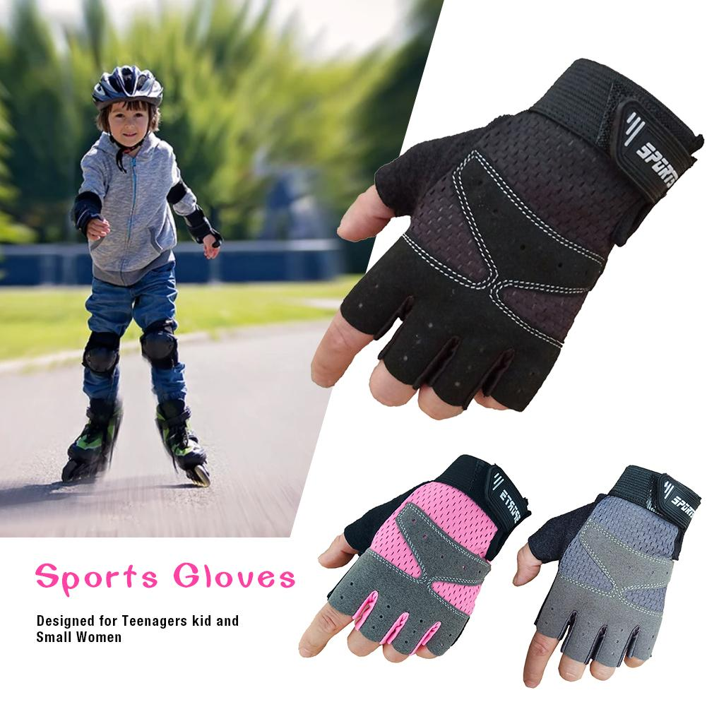 Juvenile Sports Gloves Bike Protective Gym Weightlifting Running Gloves Designed for Teenagers kid and Small Women