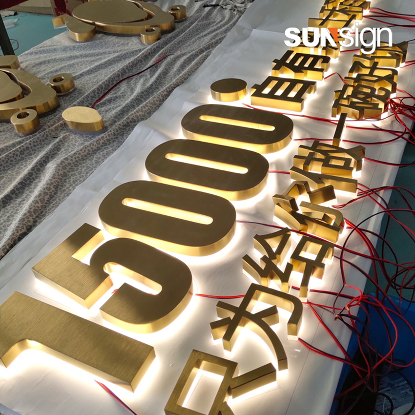 3D Gold Letters Decorative Metal Leters Plating Titanium For House Door Number