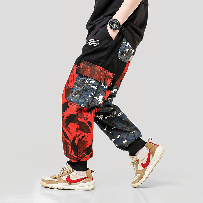 2019 spring camouflage overalls men plus fertilizer XL tide brand fat Korean version of the trend of Chinese style harem pants