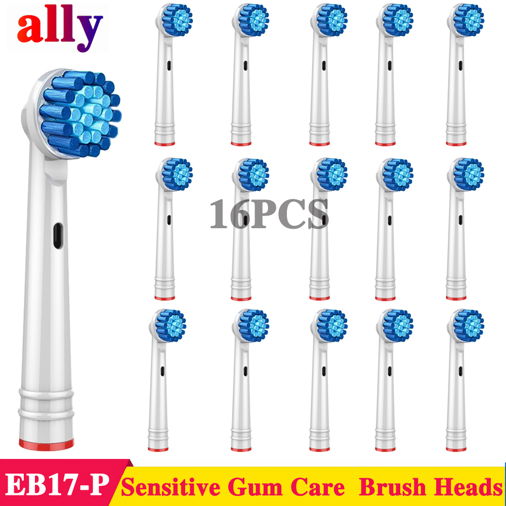 16X EB17 Sensitive Gum Care Electric toothbrush heads Replacement For Braun <font><b>Oral</b></font> <font><b>B</b></font> Vitality iBrush 9000 <font><b>5000</b></font> Electric toothbrush image