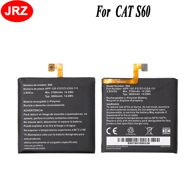 JRZ 10 pièces pour chat S60 téléphone batterie pour chat S60 3700 mAh haute capacité 3.85 V Top qualité remplacement Batteries