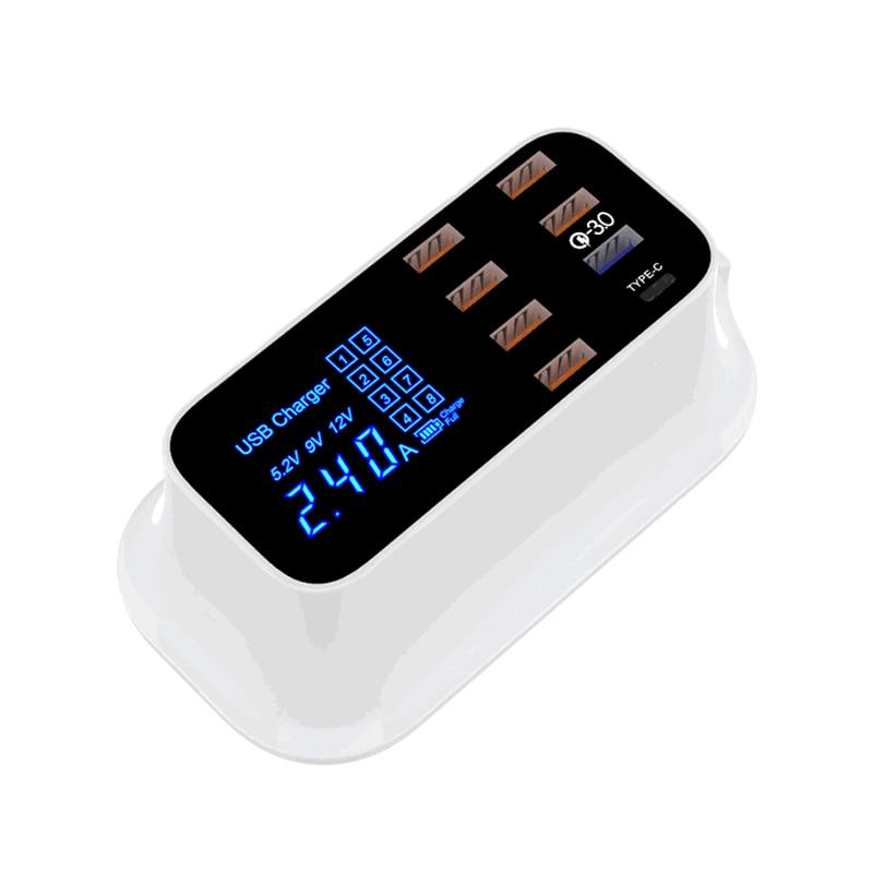 Portable Multi USB Charger Desktop Quick Charge 3.0 Station Dock LED Display Smart Type C 8 Ports Hub
