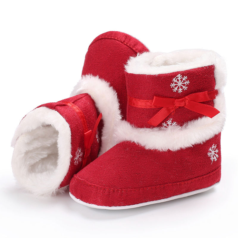 Christmas Shoes Kids Girls Winter Warm Cute First Walkers Printed Bowknot Cashmere Soft Bottom Non-slip Baby Shoes