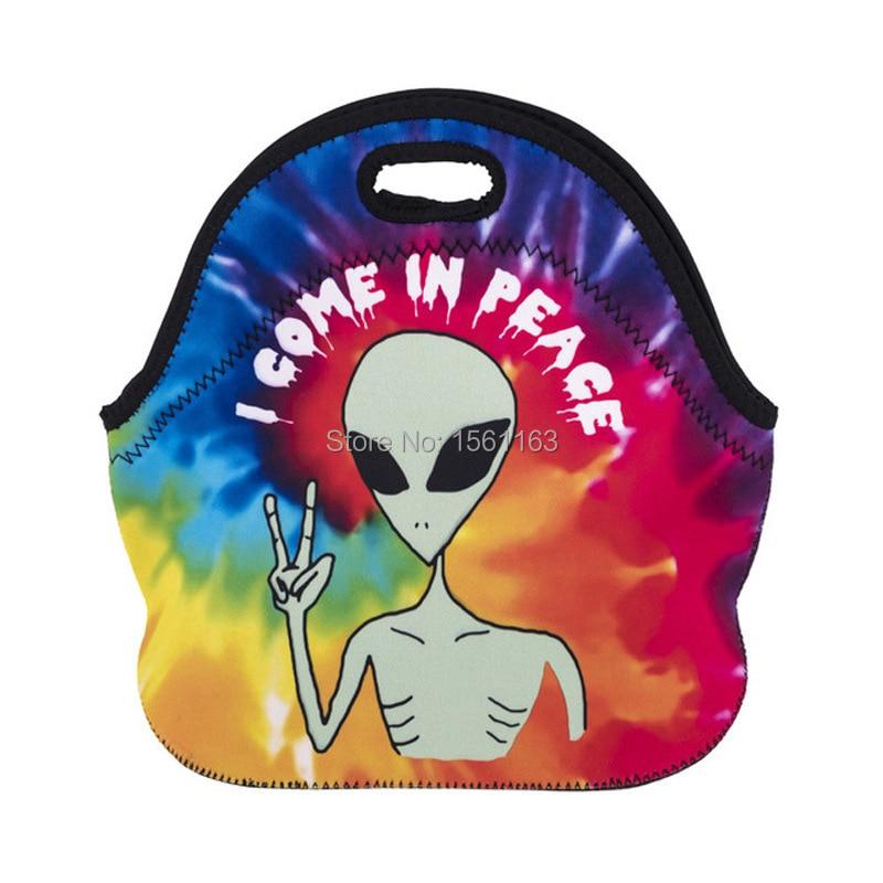 Купить с кэшбэком Thermal Insulated 3D Print Neoprene Lunch Bag For Women Kids Lunch Bags Cooler Insulation Lunch Box Food Bag