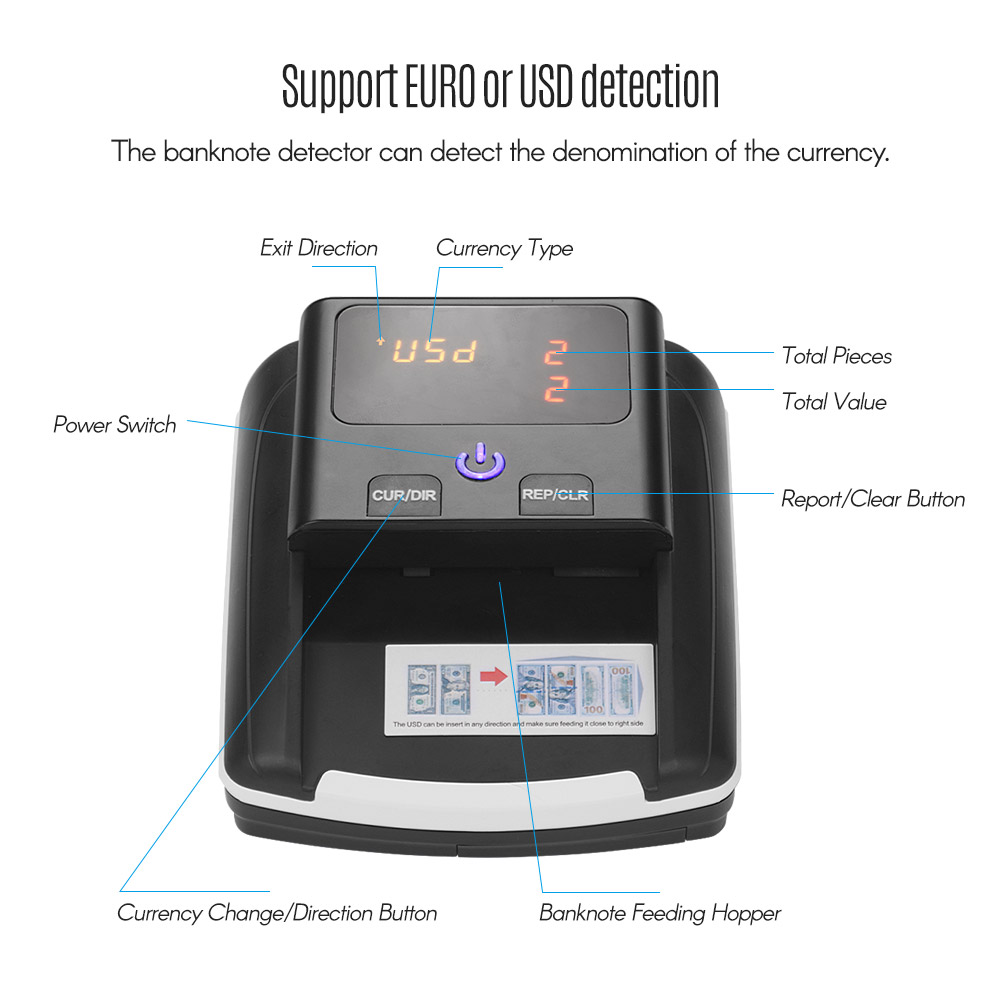 Image 5 - Portable Small Banknote Bill Detector Denomination Value Counter  UV/MG/IR/DD Counterfeit Detector Currency Cash Tester Machine-in Money Counter/Detector from Computer & Office