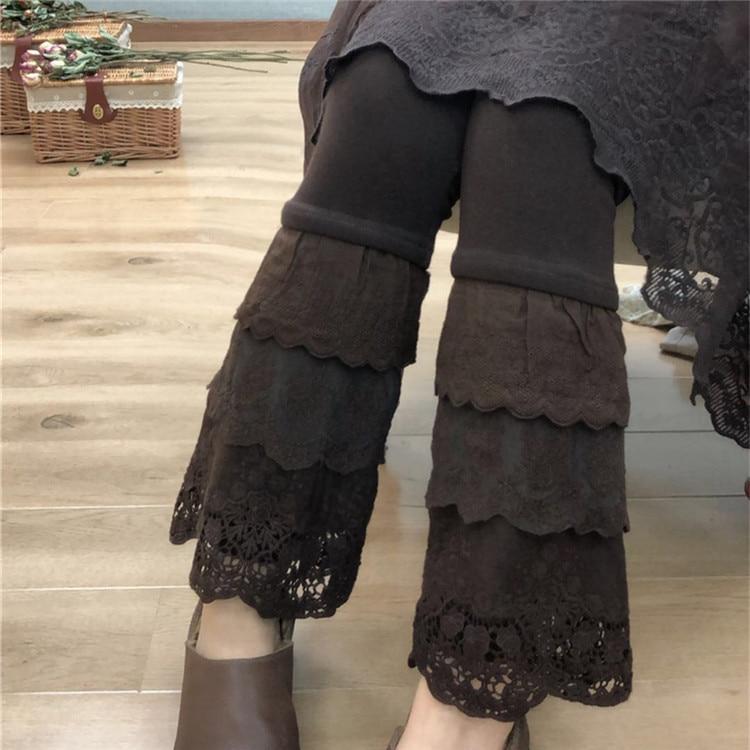 2018 Winter 3-layers Lace Cotton Plush-lined Warm Leggings Mori Girl Leg Slimming Leggings