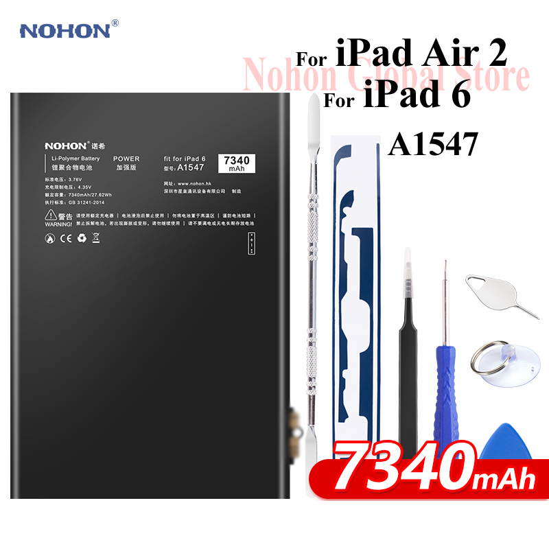 Batería Nohon para iPad 6 Air 2 A1547 7340mAh A1566 A1567 li-polymer Tablet Bateria + herramientas gratis para Apple iPad Air2 iPad6 batería