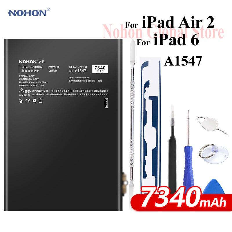 Nohon Batterie Pour iPad 6 Air 2 A1547 7340 mAh A1566 A1567 Li-polymère Tablet Bateria + Outils Gratuits pour Apple iPad Air2 iPad6 Batterie